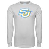 White Long Sleeve T Shirt-Interlocking SU