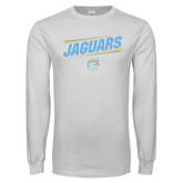 White Long Sleeve T Shirt-Slanted Jaguars w/ Logo