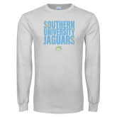 White Long Sleeve T Shirt-Southern University Jaguars Stacked