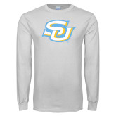 White Long Sleeve T Shirt-Interlocking SU Distressed