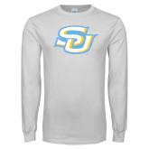 White Long Sleeve T Shirt-Interlocking SU Distressed