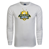 White Long Sleeve T Shirt-The Human Jukebox Official Mark Distressed