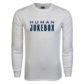 White Long Sleeve T Shirt-Human Jukebox Wordmark