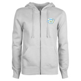 ENZA Ladies White Fleece Full Zip Hoodie-Interlocking SU