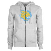 ENZA Ladies White Fleece Full Zip Hoodie-Jaguar Head