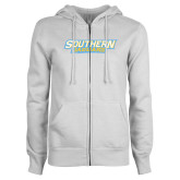 ENZA Ladies White Fleece Full Zip Hoodie-Southern Jaguars