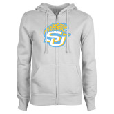 ENZA Ladies White Fleece Full Zip Hoodie-SU w/ Jaguar