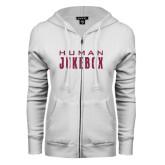 ENZA Ladies White Fleece Full Zip Hoodie-Human Jukebox Wordmark Glitter