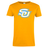 Ladies Gold T Shirt-Interlocking SU