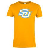 Ladies Gold T Shirt-Interlocking SU