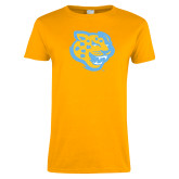 Ladies Gold T Shirt-Jaguar Head