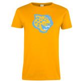 Ladies Gold T Shirt-Jaguar Head