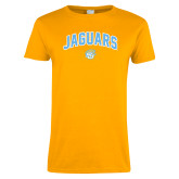 Ladies Gold T Shirt-Arched Jaguars