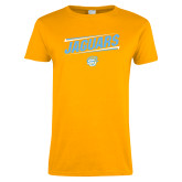 Ladies Gold T Shirt-Slanted Jaguars w/ Logo
