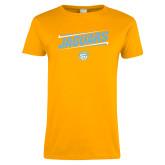 Ladies Gold T Shirt-Slanted Jaguars w/ Logo