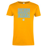Ladies Gold T Shirt-Southern University Jaguars Stacked