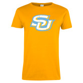 Ladies Gold T Shirt-Interlocking SU Distressed