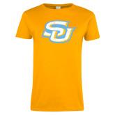 Ladies Gold T Shirt-Interlocking SU Distressed