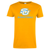 Ladies Gold T Shirt-Basketball