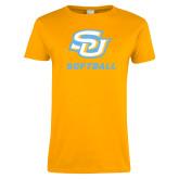 Ladies Gold T Shirt-Softball