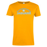 Ladies Gold T Shirt-Jaguars Football w/ Ball