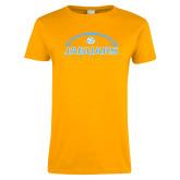 Ladies Gold T Shirt-Jaguars Football w/ Ball