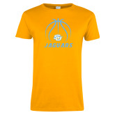 Ladies Gold T Shirt-Jaguars Basketball Contour Lines