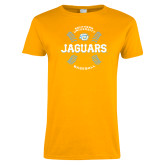 Ladies Gold T Shirt-Jaguars Baseball w/ Seams