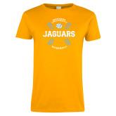 Ladies Gold T Shirt-Jaguars Baseball w/ Seams