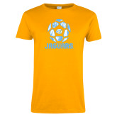 Ladies Gold T Shirt-Jaguars Soccer Geometric