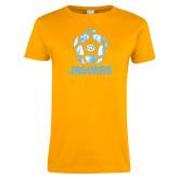 Ladies Gold T Shirt-Jaguars Soccer Geometric