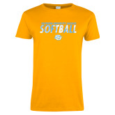 Ladies Gold T Shirt-Southern University Jaguars Softball Texture