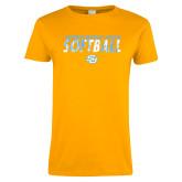 Ladies Gold T Shirt-Southern University Jaguars Softball Texture