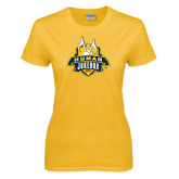 Ladies Gold T Shirt-The Human Jukebox Official Mark Distressed