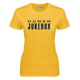 Ladies Gold T Shirt-Human Jukebox Wordmark
