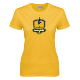Ladies Gold T Shirt-Fabulous Dancing Dolls Official Mark