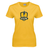 Ladies Gold T Shirt-Fabulous Dancing Dolls Official Mark Distressed