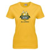 Ladies Gold T Shirt-The Human Jukebox - Alumni