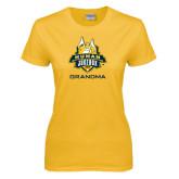 Ladies Gold T Shirt-The Human Jukebox - Grandma