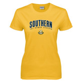 Ladies Gold T Shirt-Arched Southern