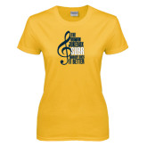 Ladies Gold T Shirt-Nobody Does it Better Music Note