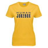 Ladies Gold T Shirt-Human Jukebox Wordmark Glitter