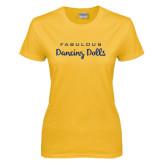 Ladies Gold T Shirt-Fabulous Dancing Dolls Wordmark Glitter