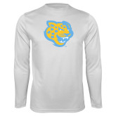 Performance White Longsleeve Shirt-Jaguar Head