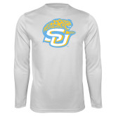 Performance White Longsleeve Shirt-SU w/ Jaguar