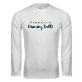 Syntrel Performance White Longsleeve Shirt-Fabulous Dancing Dolls Wordmark
