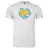 Next Level Heather White Tri Blend Crew-Jaguar Head