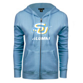ENZA Ladies Light Blue Fleece Full Zip Hoodie-Alumni