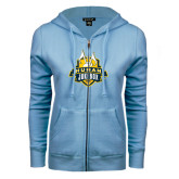 ENZA Ladies Light Blue Fleece Full Zip Hoodie-The Human Jukebox Official Mark