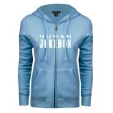 ENZA Ladies Light Blue Fleece Full Zip Hoodie-Human Jukebox Wordmark